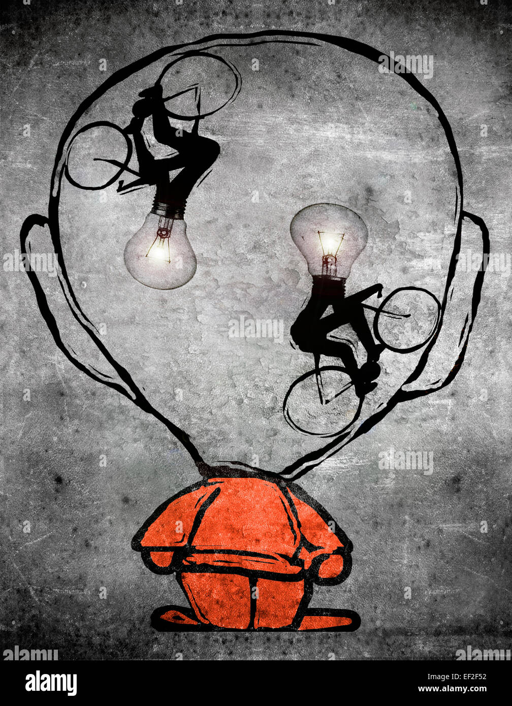 two cyclists with bulb head in the brain of a man - Stock Image