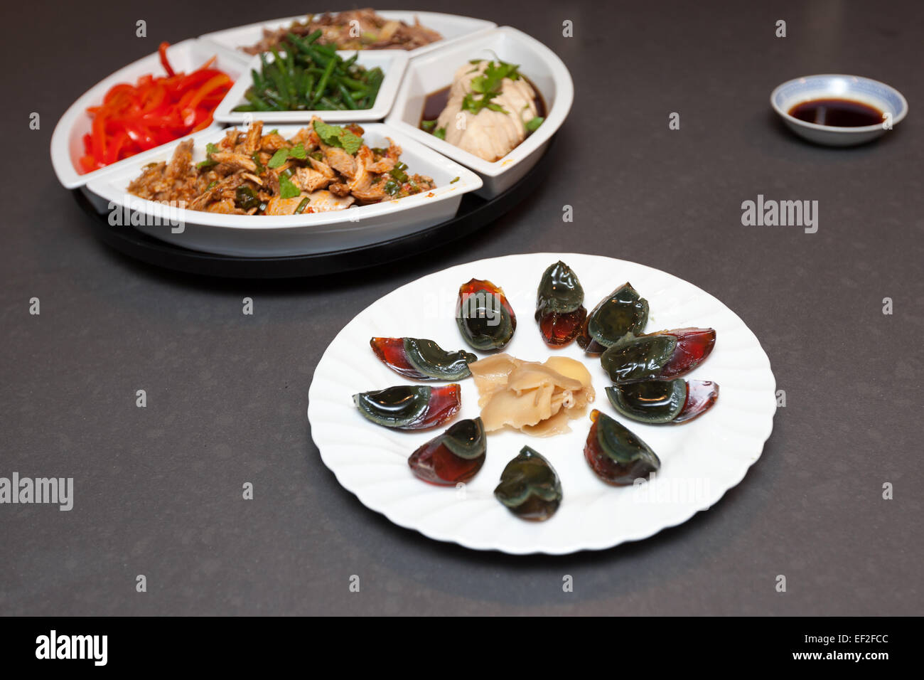 Thousand year old eggs served for chinese new year. Stock Photo