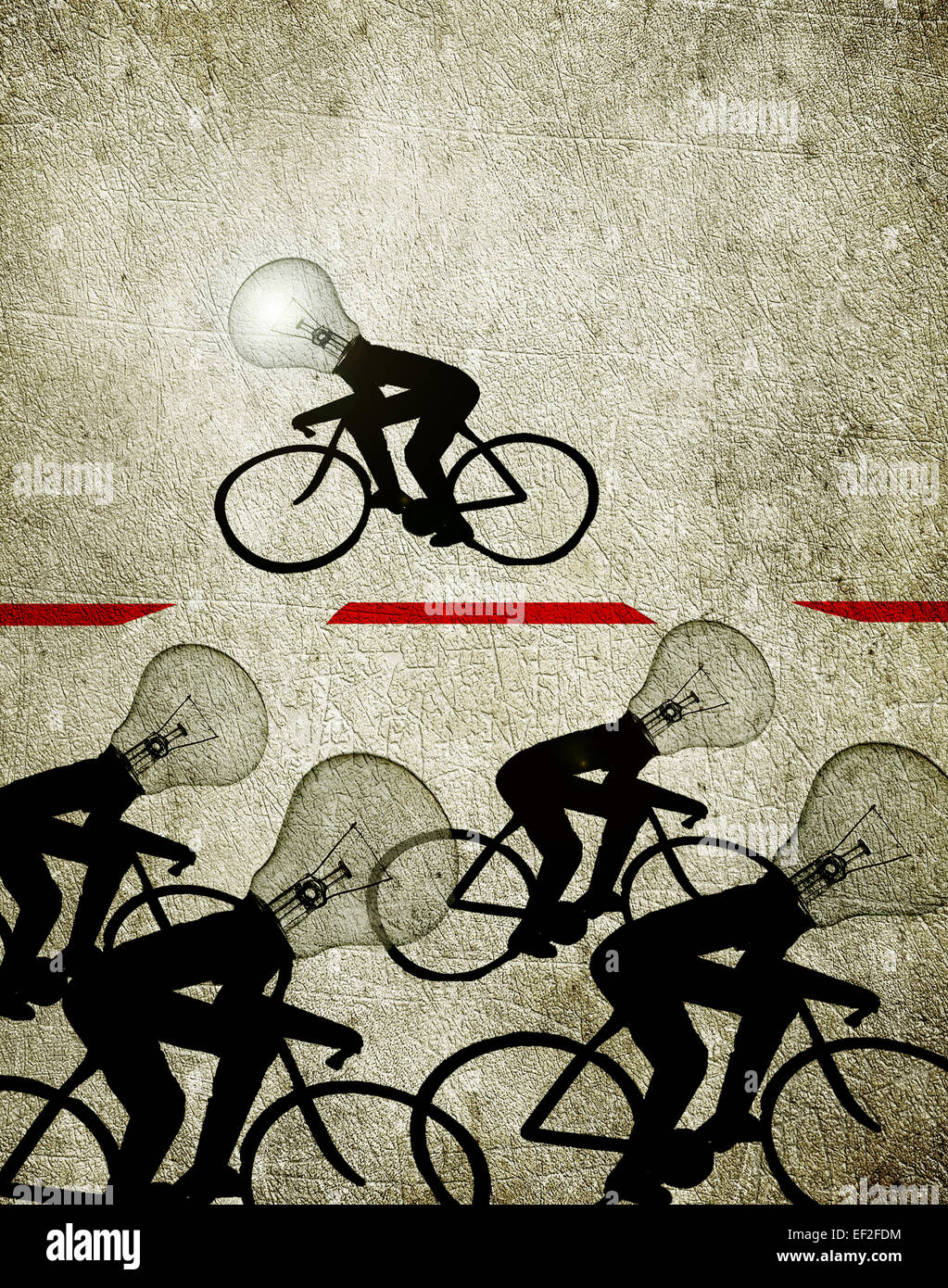 cyclists with bulb heads illustration creativity concept - Stock Image