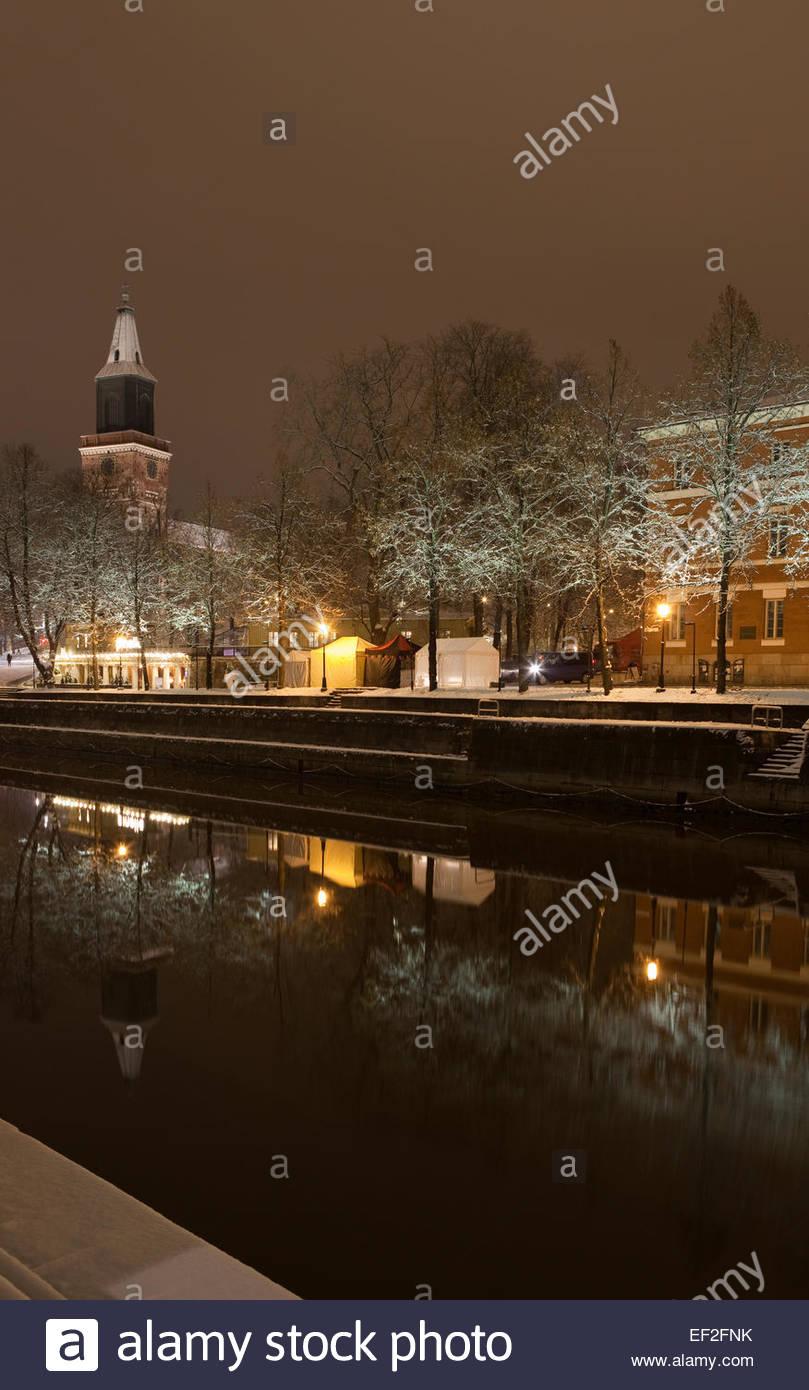 Old Turku by night - Stock Image