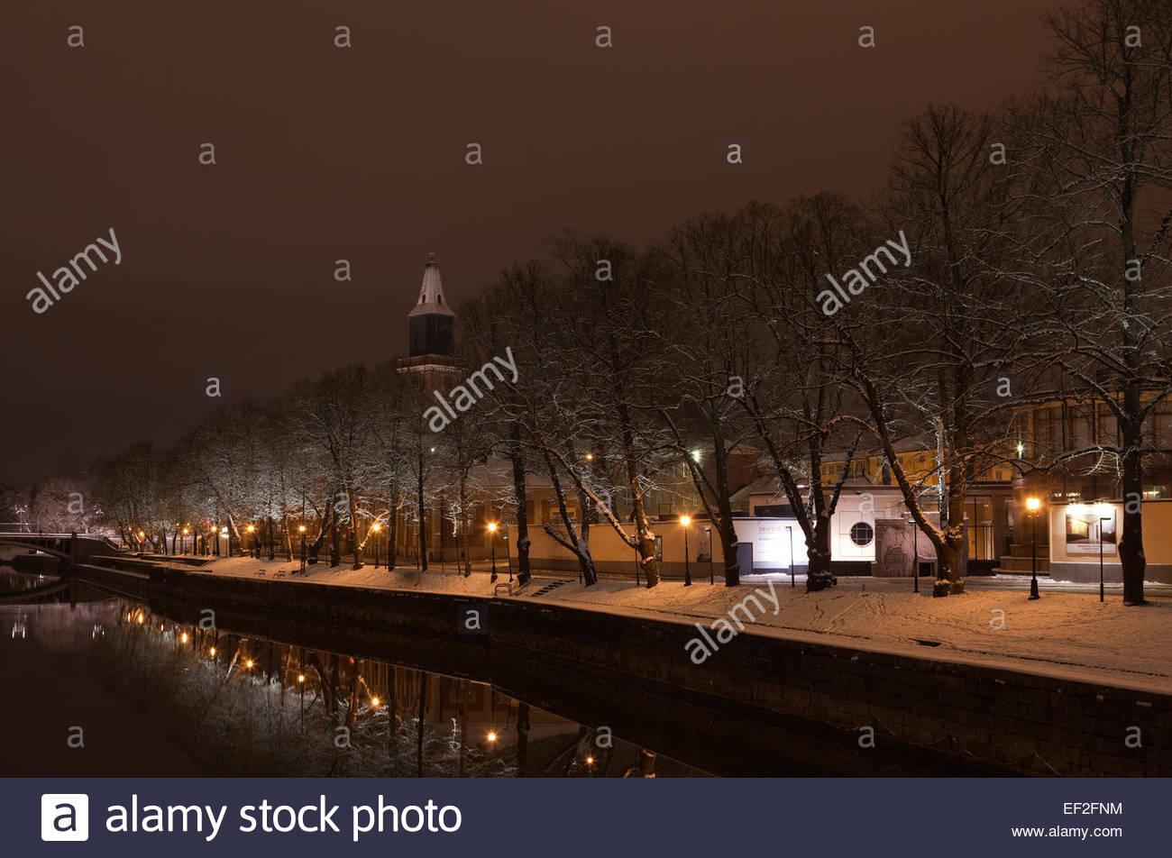 Turku by night - Stock Image