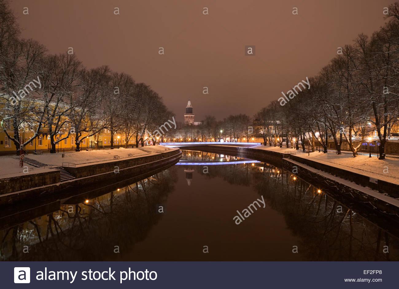 The new bridge over river Aura in Turku - Stock Image