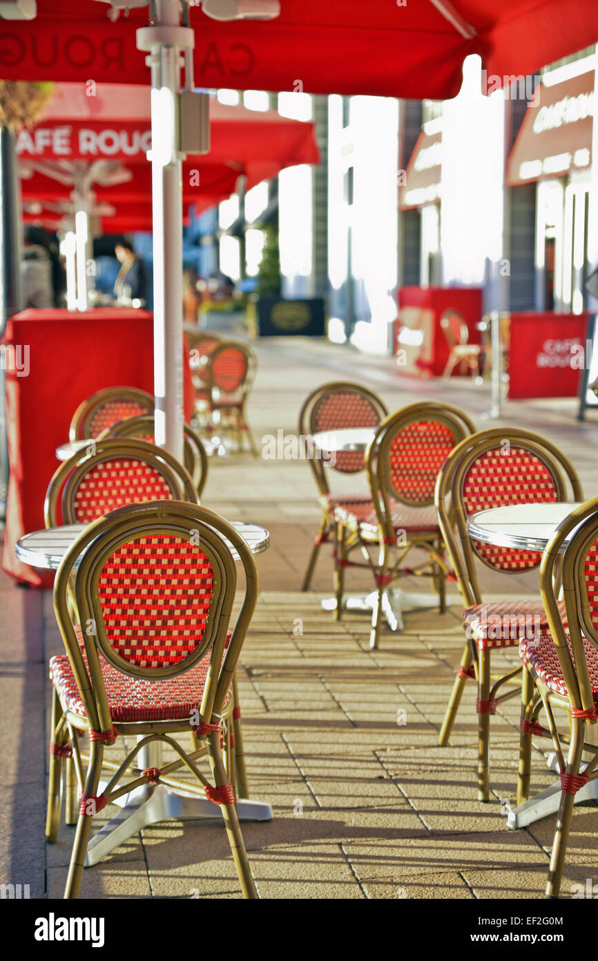 selective focus of outside eating area at canary wharf London UK - Stock Image