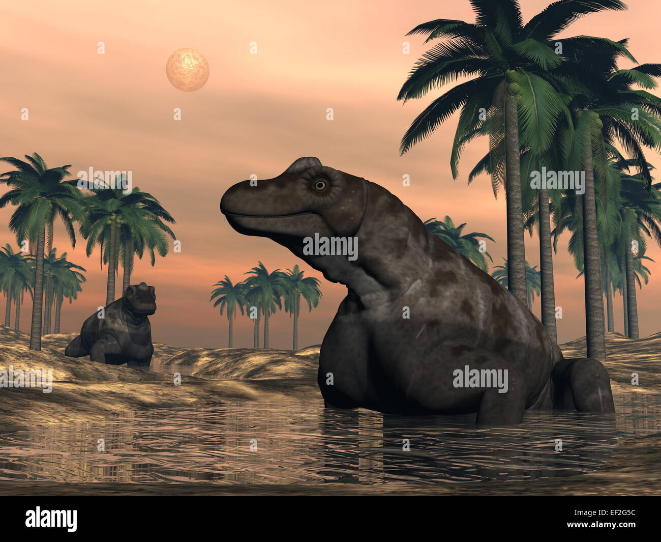 Keratocephalus dinosaurs having bath in the desert with palm trees - 3D render - Stock Image