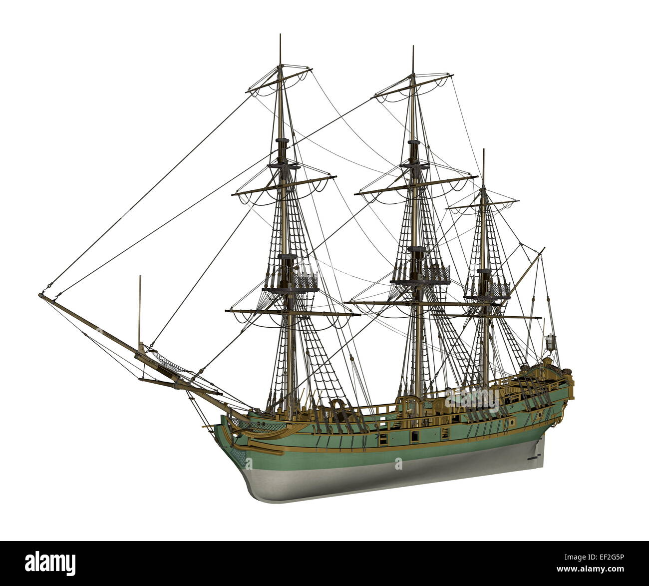 Beautiful detailed old Aurora slave ship isolated in white background - 3D render - Stock Image