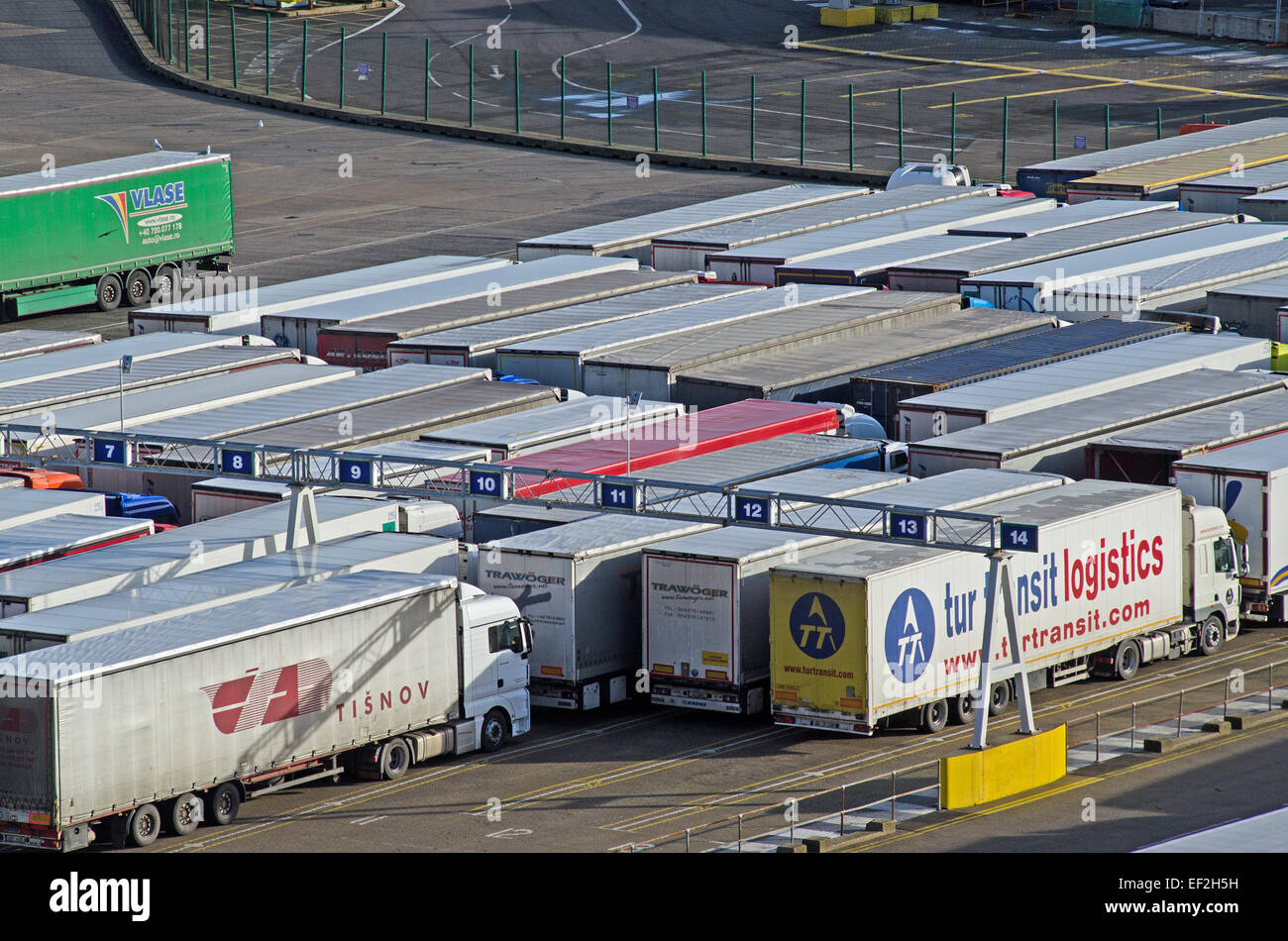 Lorries queuing before embarkation at Port of Dover, Kent, UK. Stock Photo