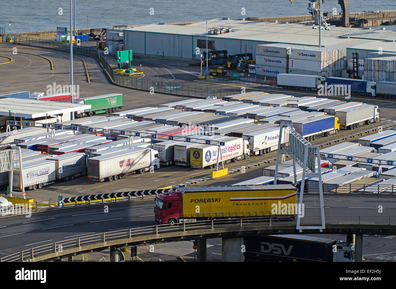 Lorries queuing before embarkation at Port of Dover, Kent, UK. - Stock Image