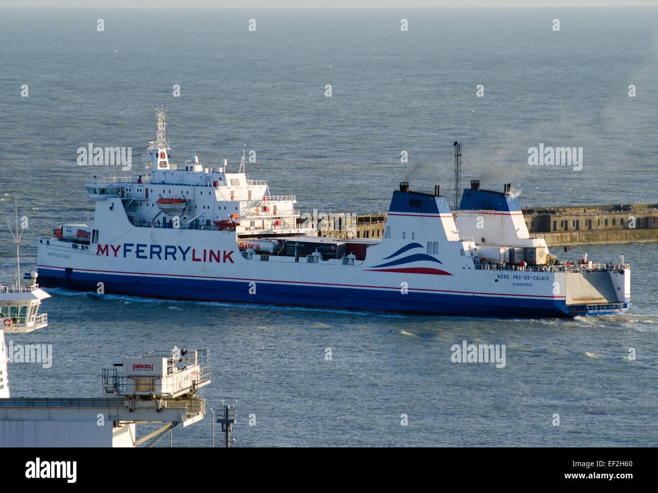 My Ferry Link ship MS Nord Pas de Calais leaving the Port of Dover, Kent, UK. en route for Calais. - Stock Image