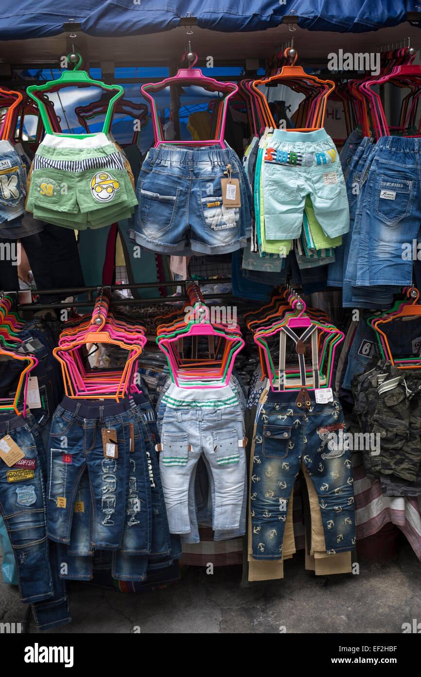 451c4bfcb90b Childrens Clothes on sale at Market Stall Bangkok Stock Photo ...