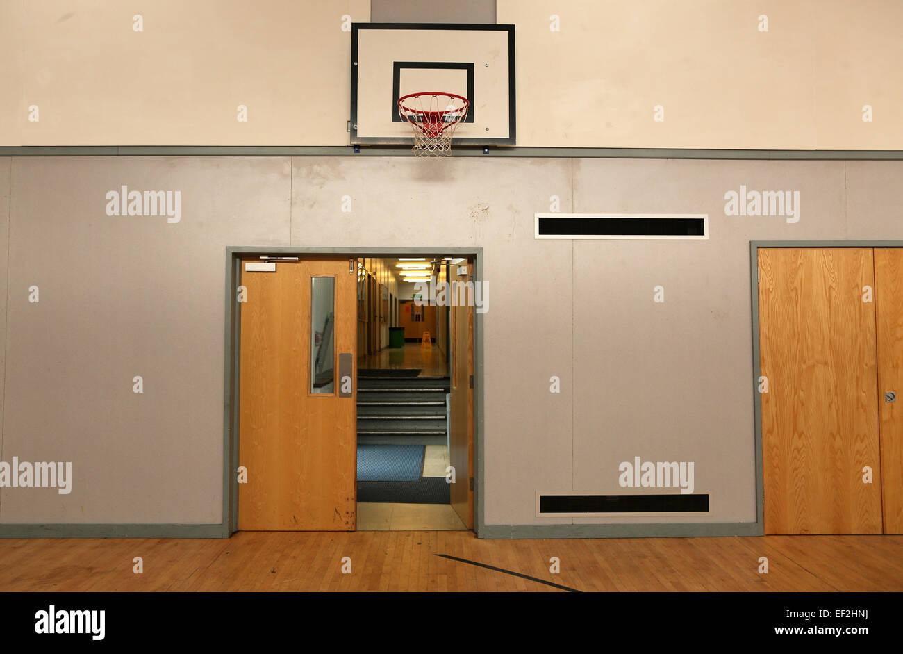 Modernised school gym with an open door