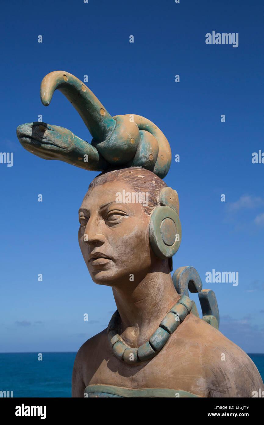 Statue, Ixchel, Maya Goddess of the Moon and Fertility, Punta Sur, Isla Mujeres, Quintana Roo, Mexico - Stock Image
