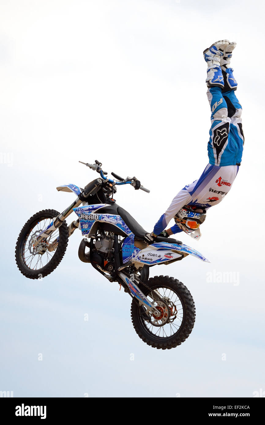 BARCELONA - JUN 28: A professional rider at the FMX (Freestyle Motocross) competition at LKXA Extreme Sports. - Stock Image
