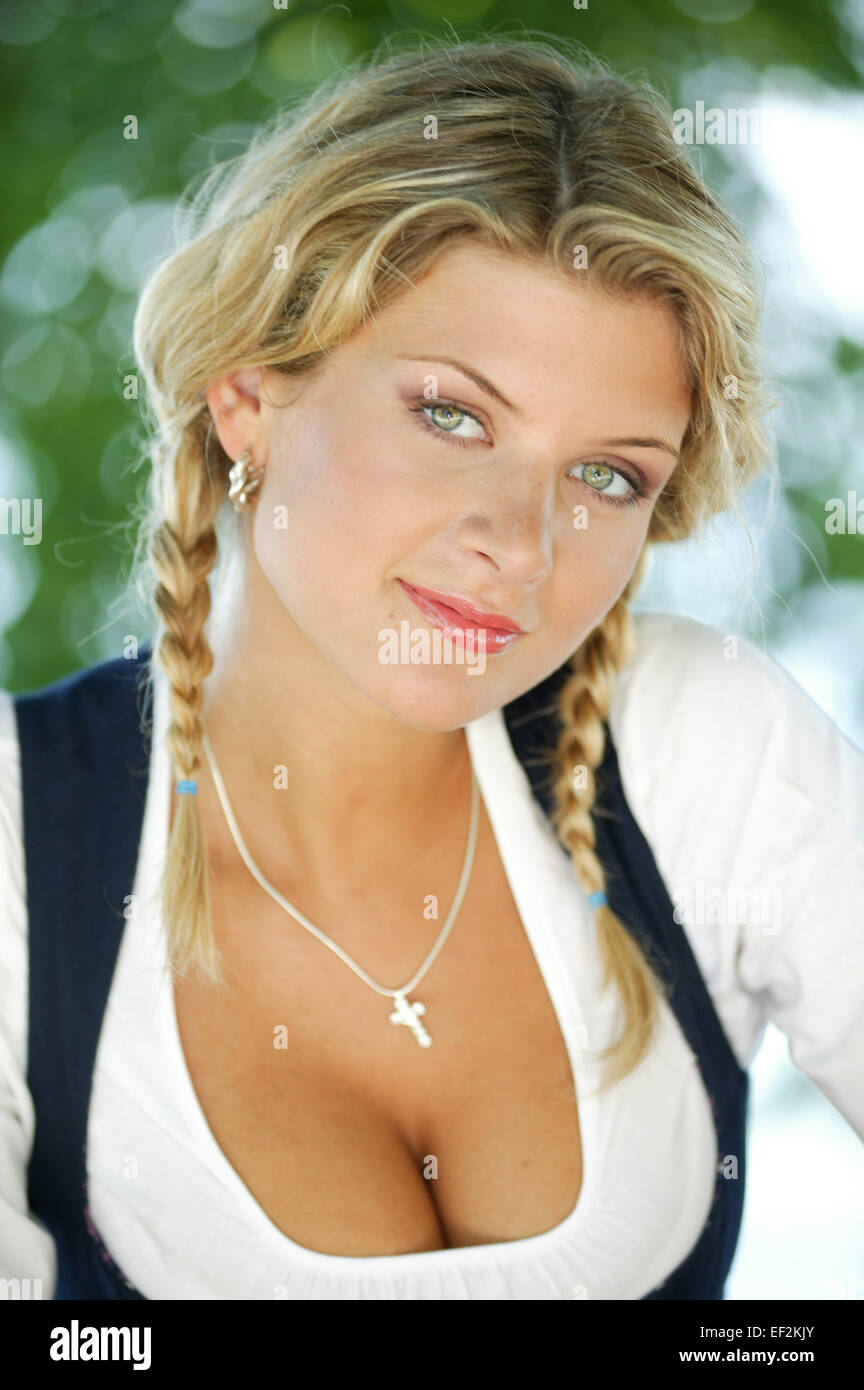 Frau, Dirndl, Portrait, Jung, Blond, Dirndlkleid, Tracht