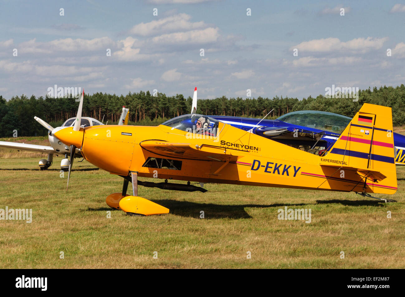 Aerobatic airplane taxiing to runway for a flight demonstration - Arloh Flugplatzfest 2009 Germany - Stock Image