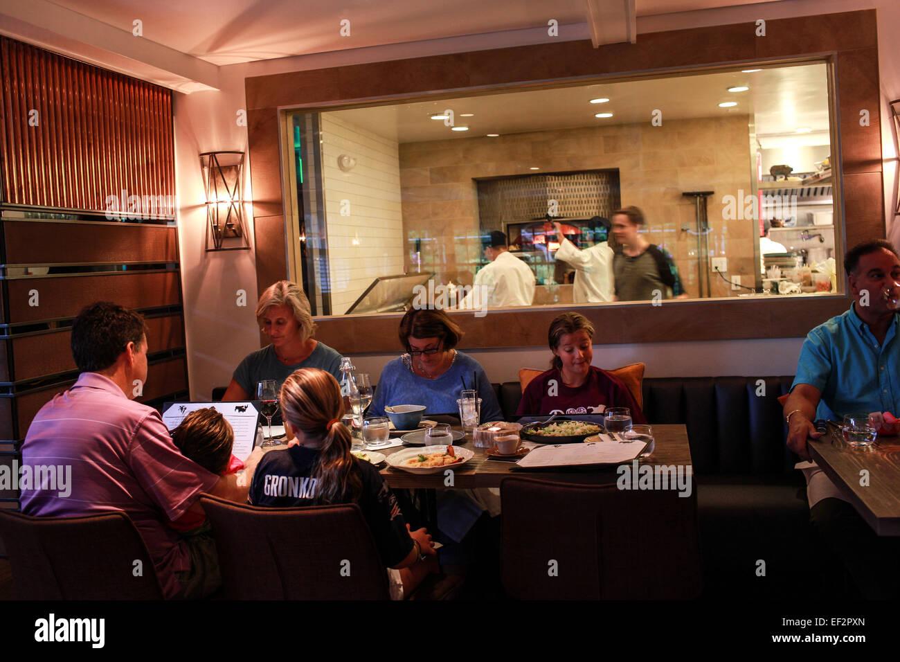 Customers dining at One Twenty One Restaurant in North Salem, NY. Stock Photo