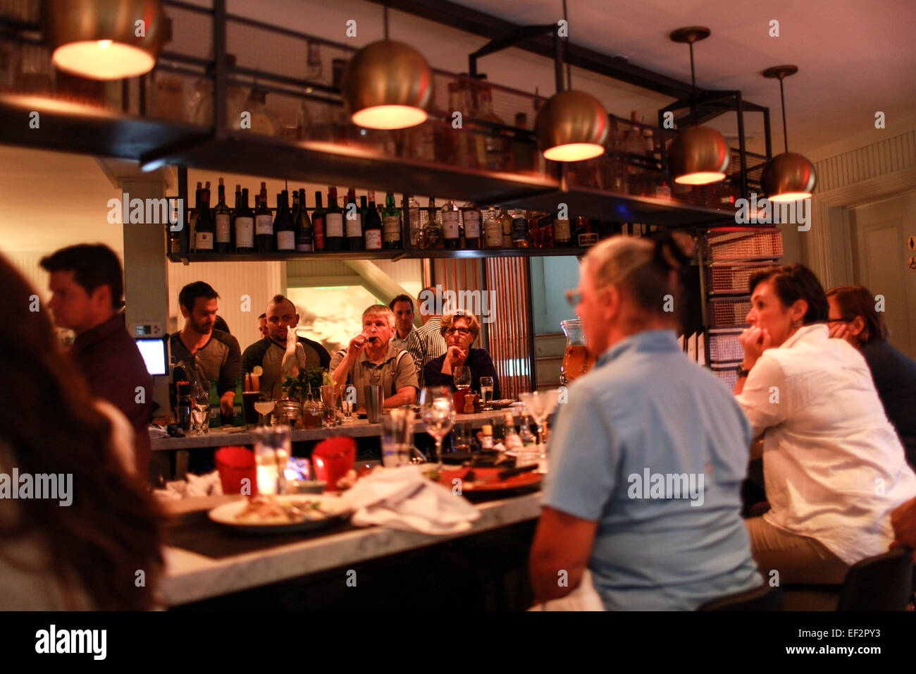 Customers dining at One Twenty One Restaurant in North Salem, NY. - Stock Image
