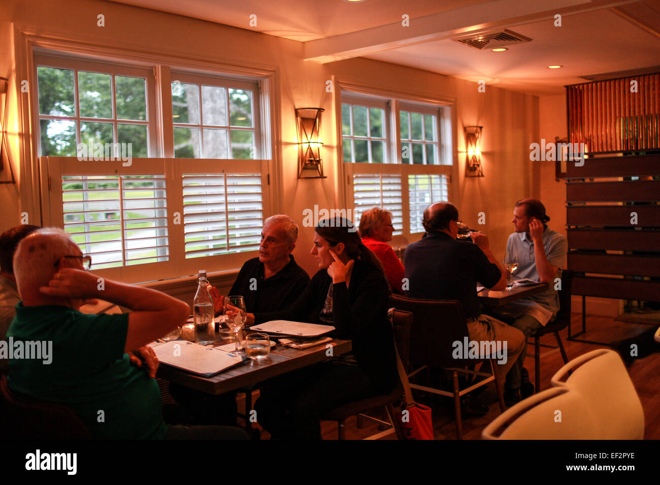 Customers dining at One Twenty One Restaurant in North Salem, NY. Stock Photo