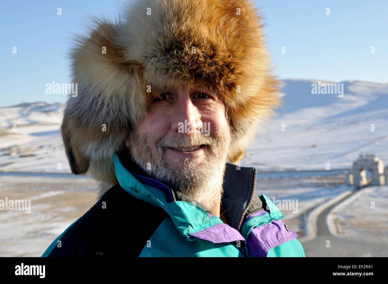 25be8690483 Caucasian Man Wearing Fur Hat Stock Photos   Caucasian Man Wearing ...