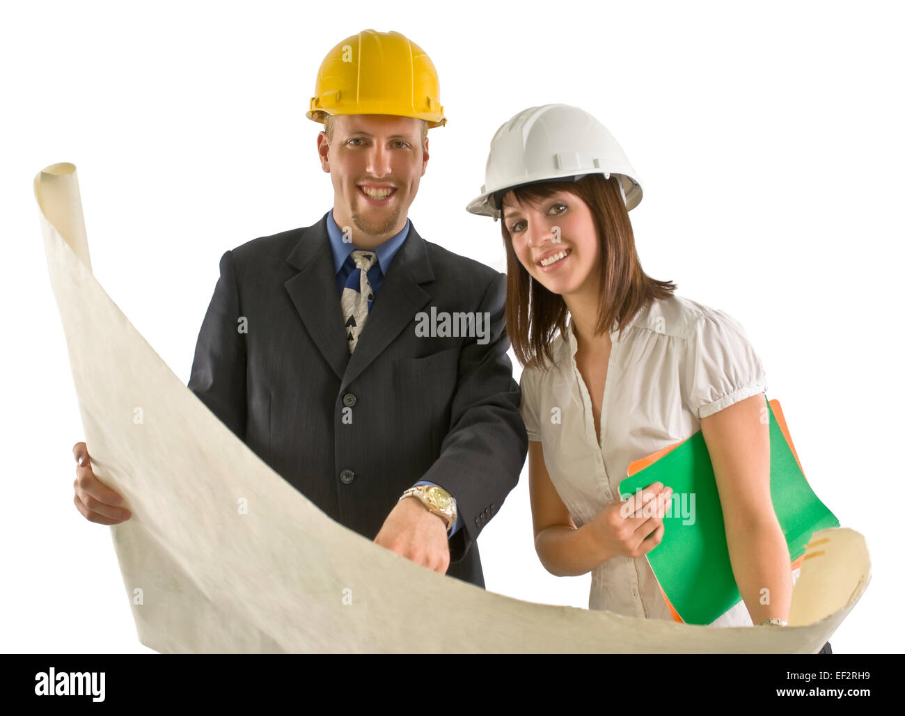 Two architects looking at blueprints Stock Photo