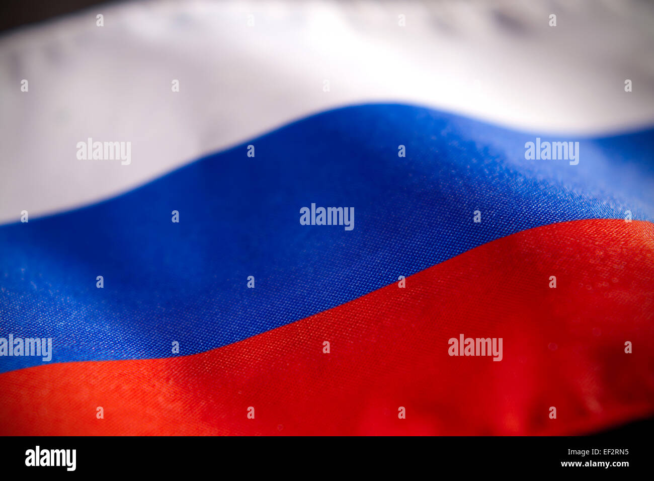 Russian Federation flag -- Abstract macro view of with shallow depth of field - Stock Image