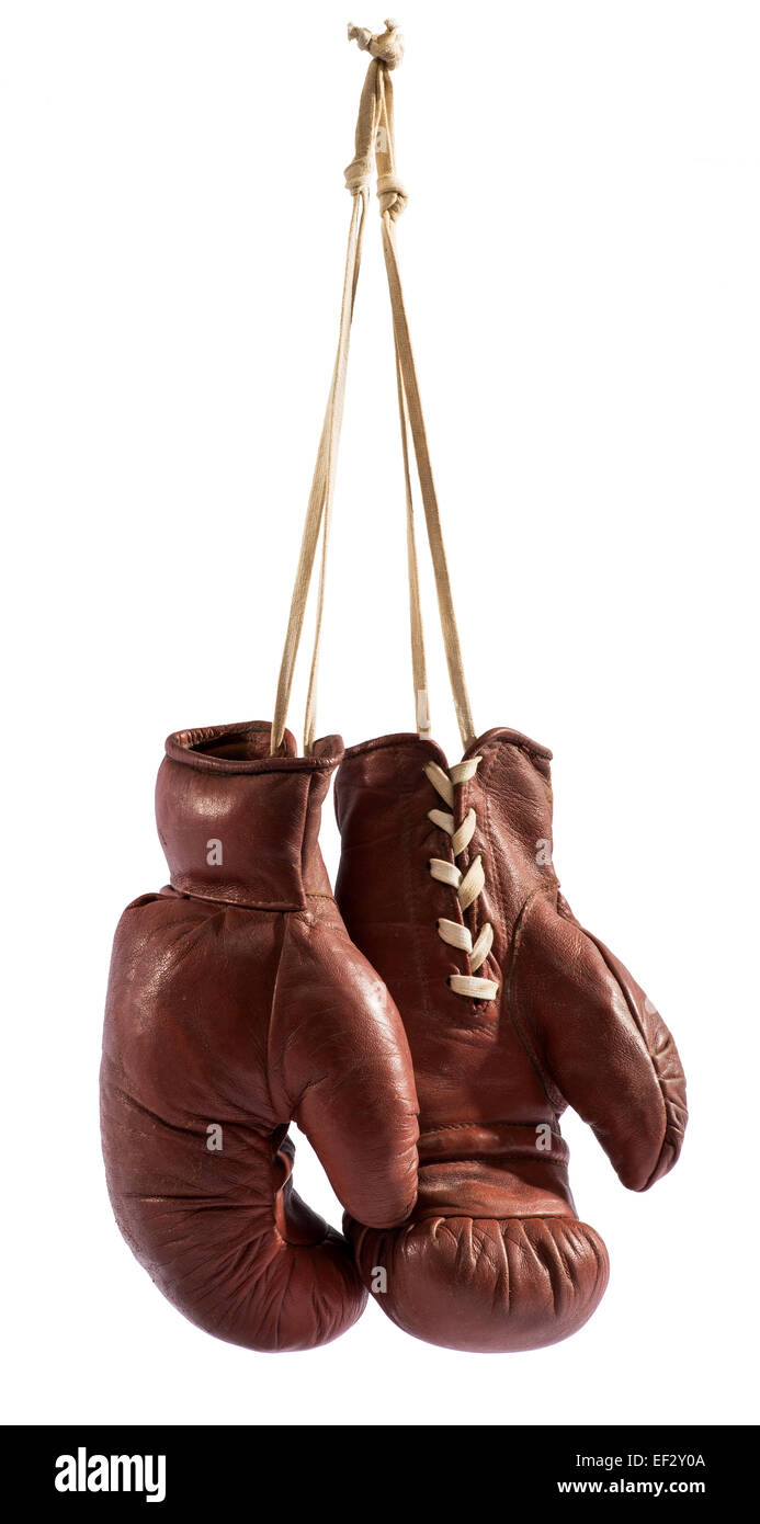 Hanging boxing gloves - Stock Image