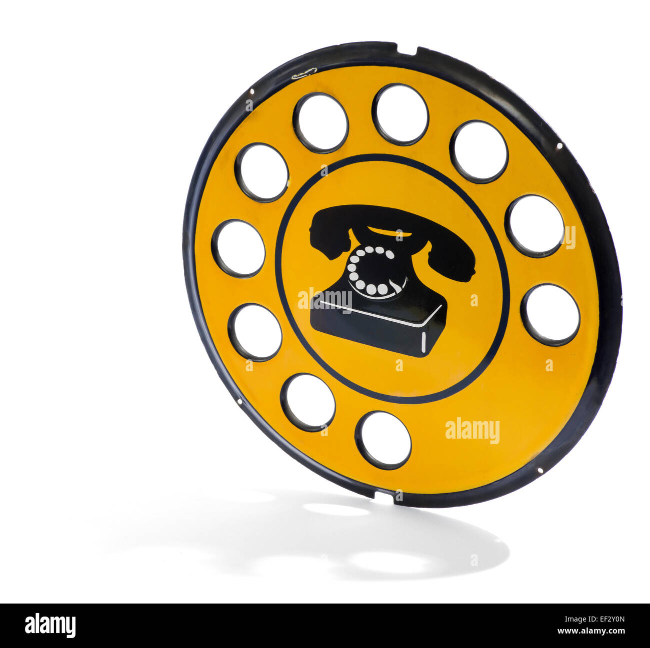 Vintage yellow italian telephone sign - Stock Image