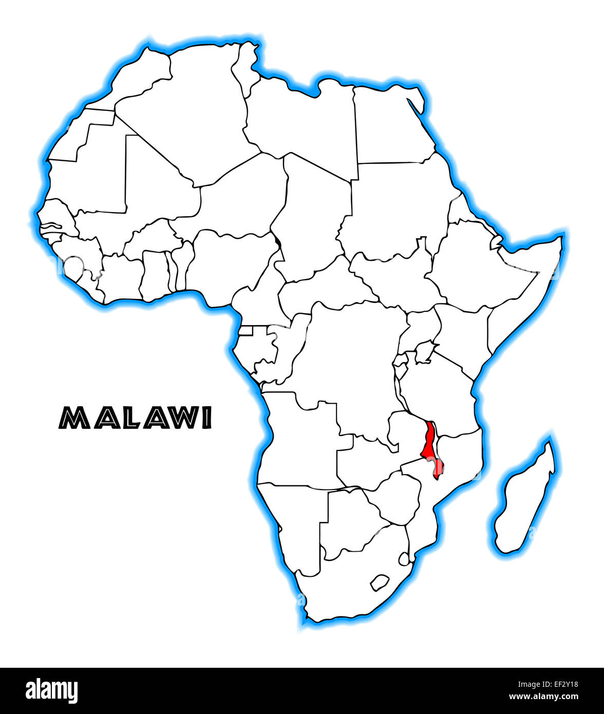 Malawi On Africa Map.Malawi Outline Inset Into A Map Of Africa Over A White Background