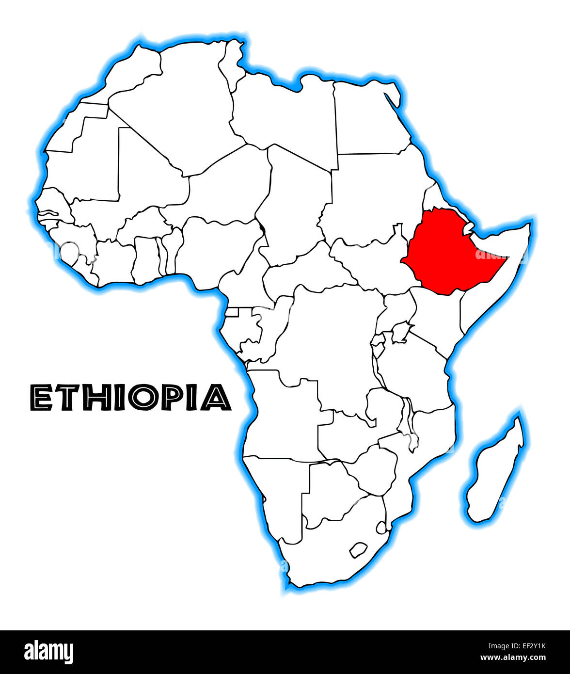 Ethiopia outline inset into a map of Africa over a white background