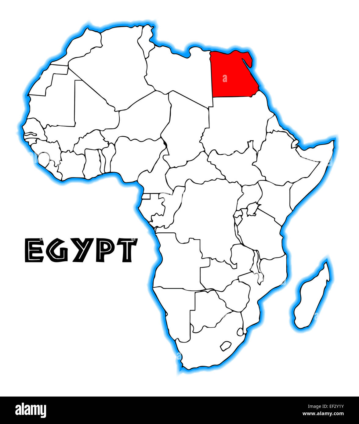 Egypt outline inset into a map of Africa over a white background