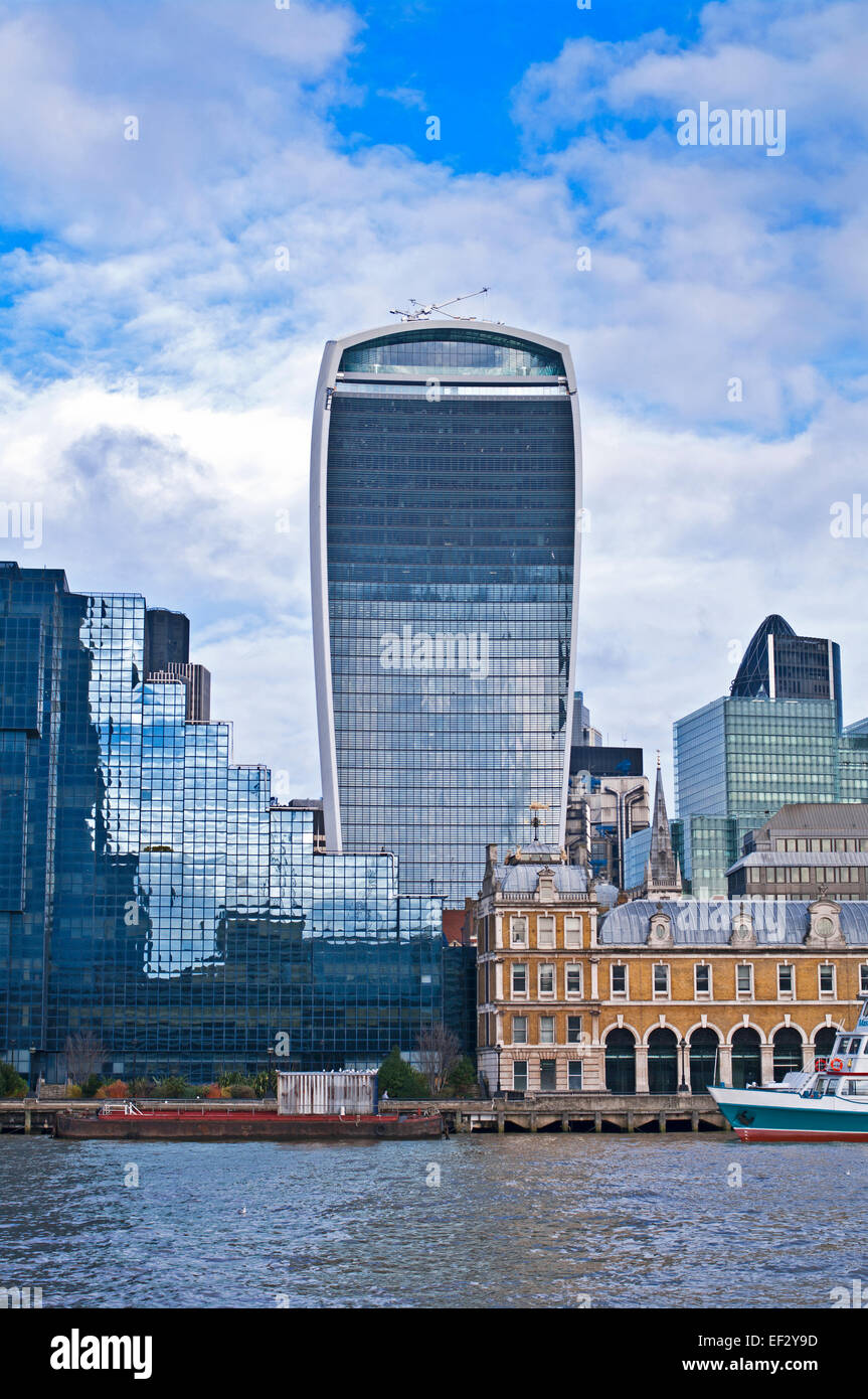 The Walkie Talkie (20 Fenchurch St), the Northern and Shell Building and Old Billingsgate Market seen from River - Stock Image