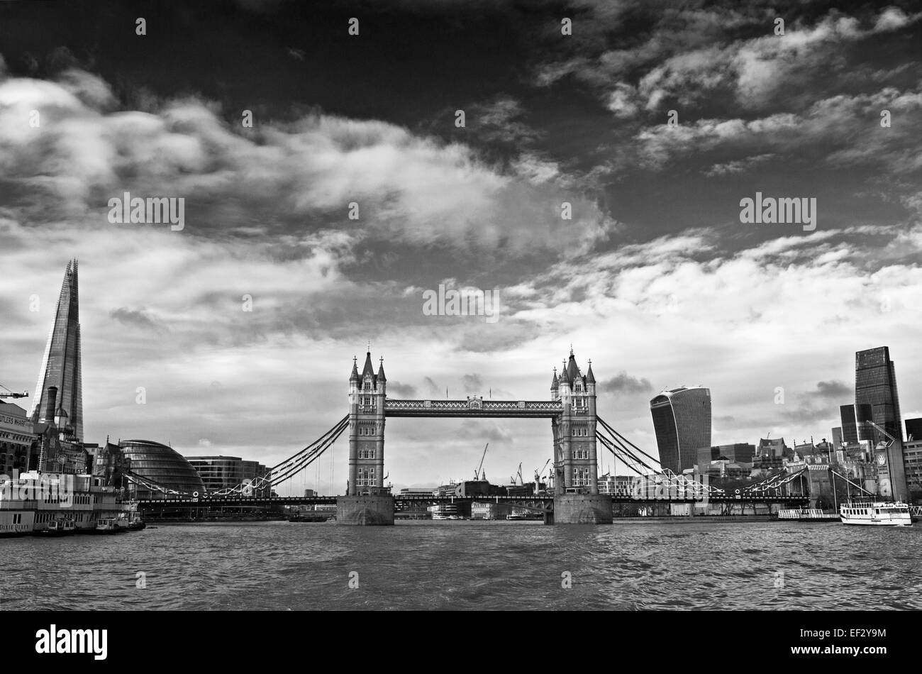 The Shard, Tower Bridge, the Walkie Talkie and the Cheese Grater seen from the River Thames, London city skyline, - Stock Image