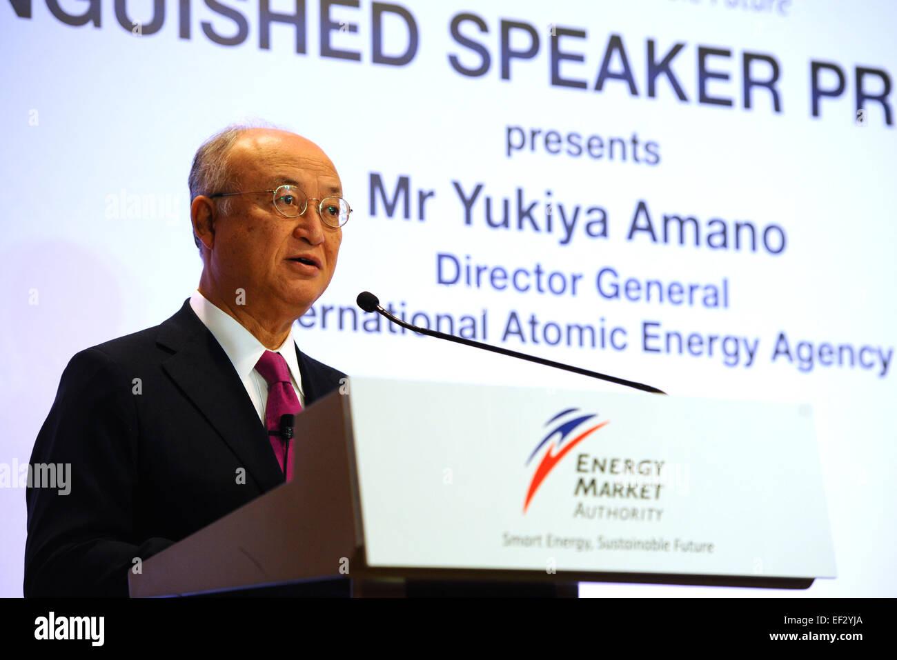 Singapore. 26th Jan, 2015. Director General of the International Atomic Energy Agency (IAEA) Yukiya Amano attends - Stock Image