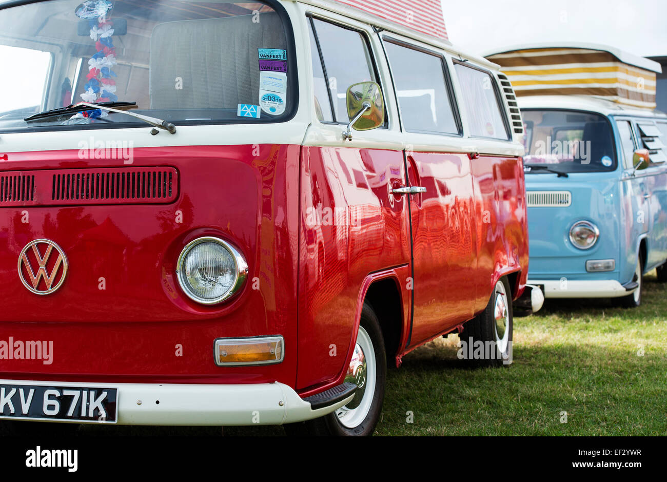Two VW campervans. UK - Stock Image