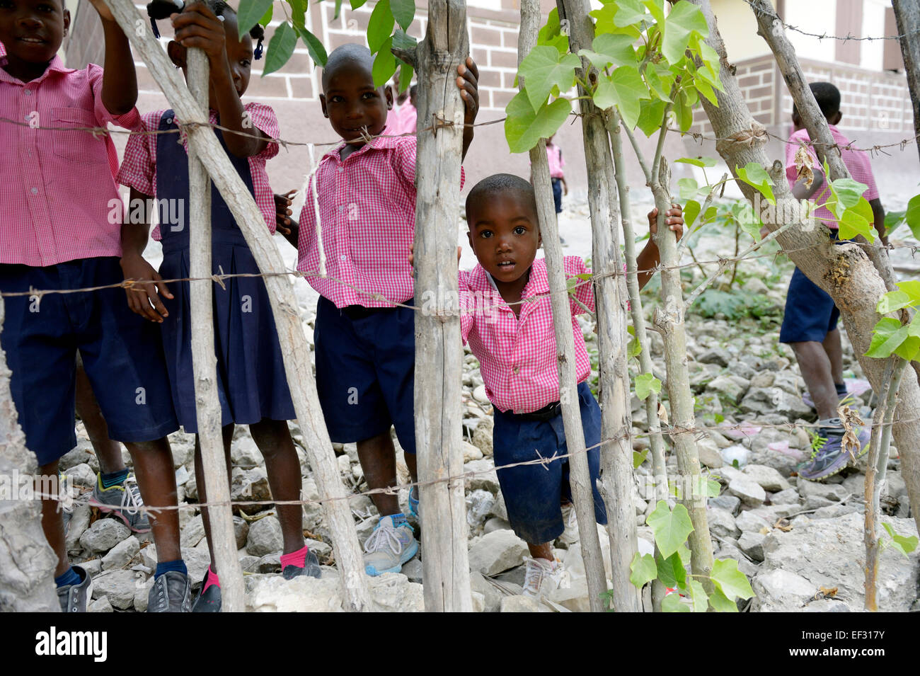 Schoolboys standing behind a fence, Bresilienne, Sud-Est Department, Haiti - Stock Image
