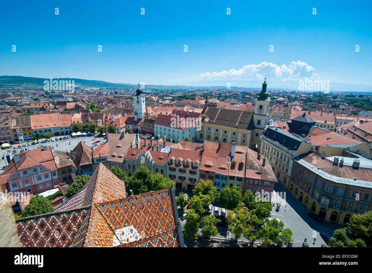 Overlooking the city, Sibiu, Romania - Stock Image