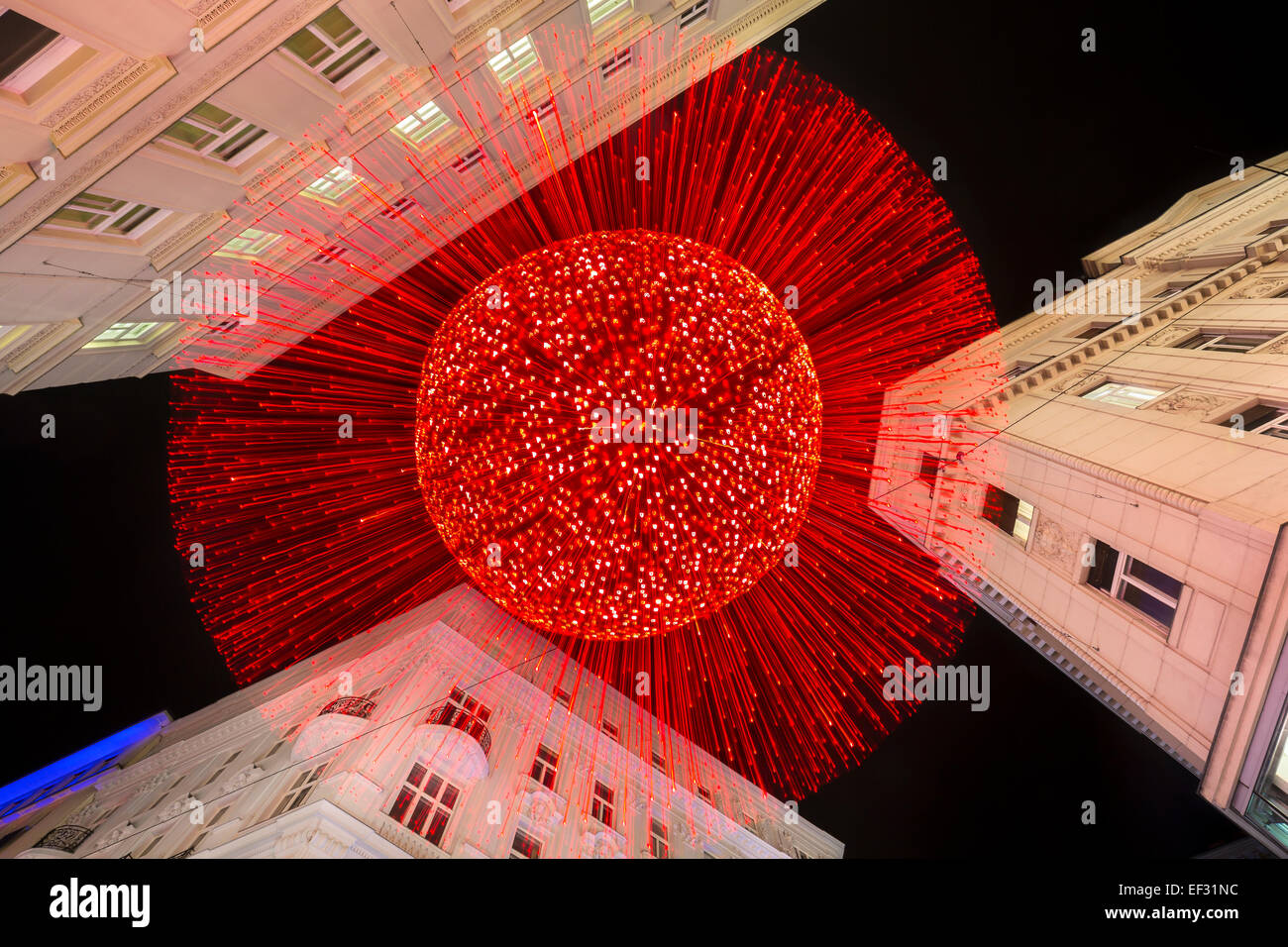 Christmas lights on Silvesterpfad, New Year's Eve Trail, at Rotenturmstraße street, Innere Stadt district, - Stock Image