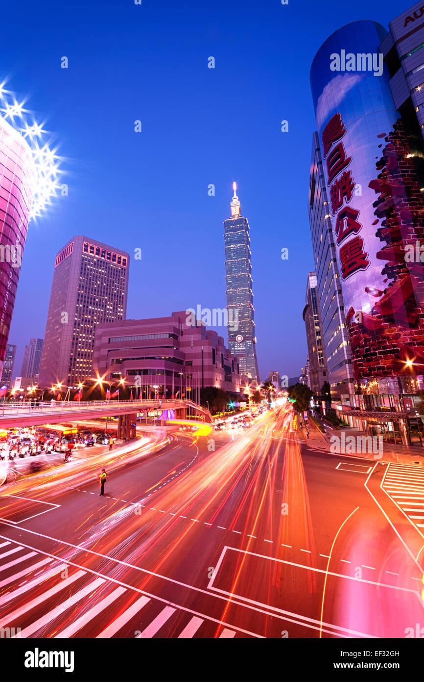Taipei, Taiwan - Dec 30, 2014:  Taipei, Xinyi District at night (including Taipei 101). The Xinyi District is the Stock Photo