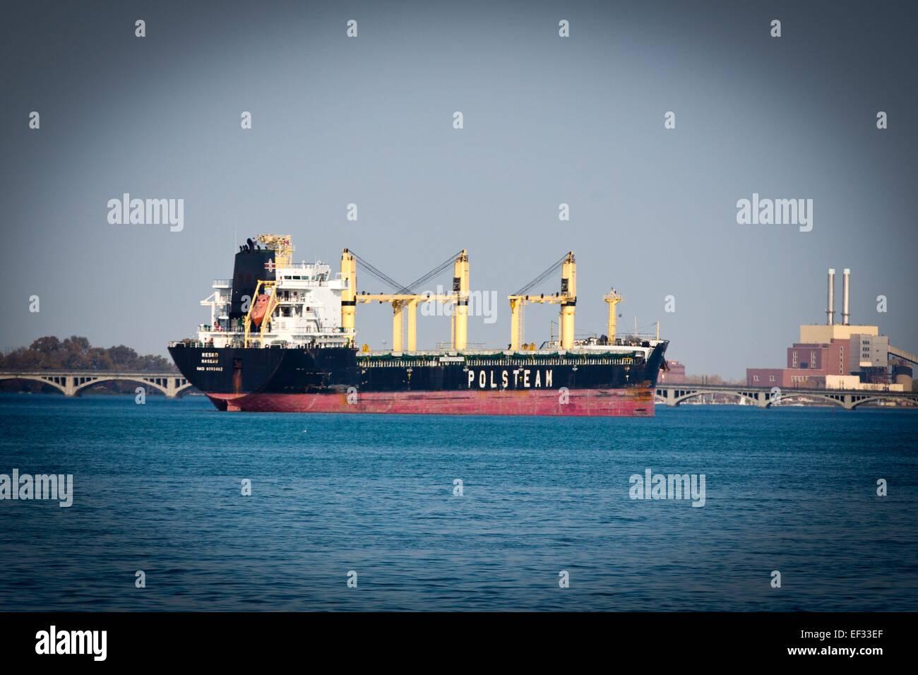 190m lenght bulkcarrier Resko of Polsteam, Detroit River, Detroit, MI, USA, Oct. 25, 2014. - Stock Image