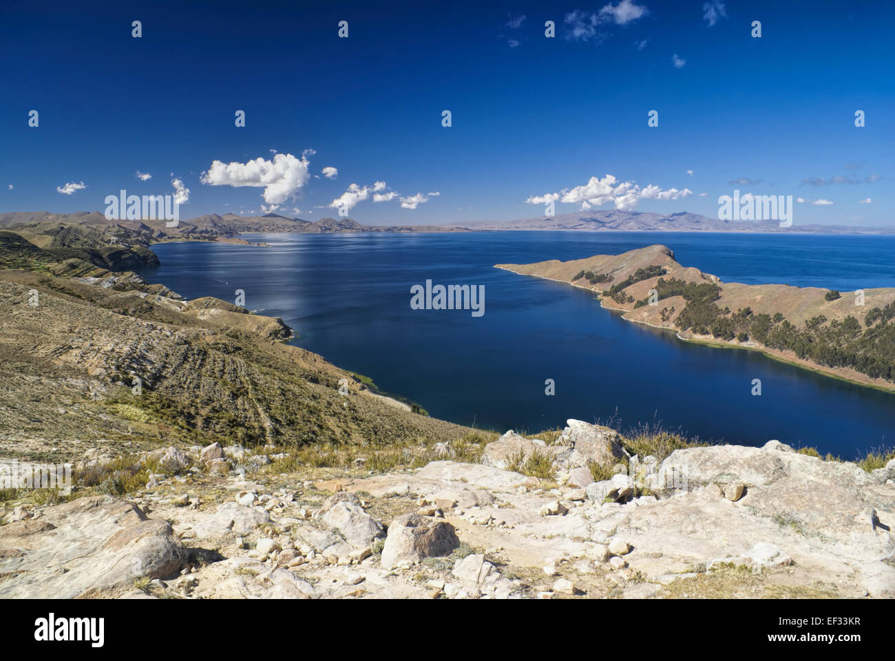 Picturesque view of Isla del Sol, island on lake Titicaca in Bolivia - Stock Image