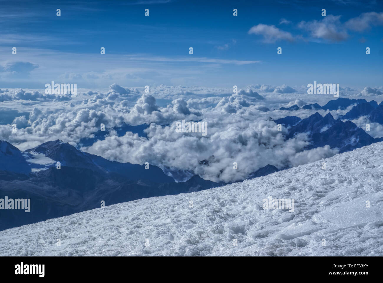 Breathtaking view from near top of Huayna Potosi mountain in Bolivia - Stock Image
