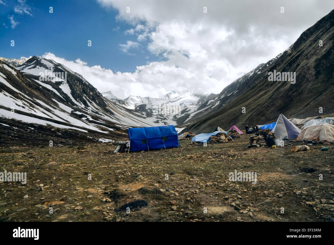 High altitude base camp in Himalayas mountains in Nepal - Stock Image