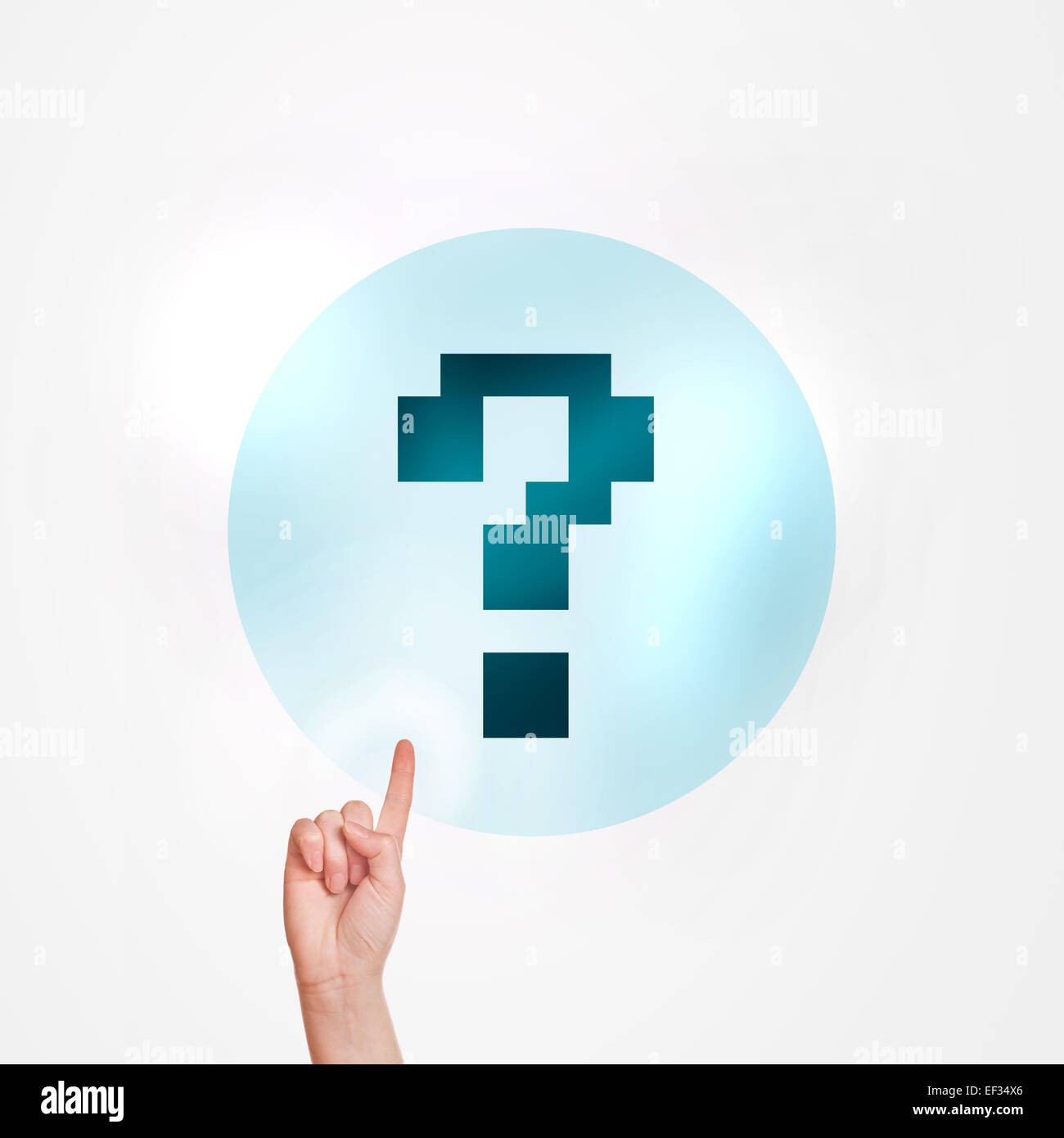 Making an Inquiry Concept, Female Hand Pushing touchscreen button with Question Mark. - Stock Image