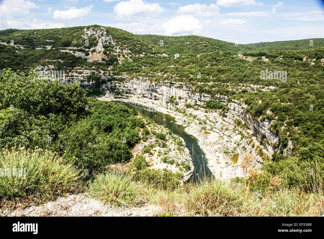 Gorges de l'Ardèche The Ardeche River gorge, Provence, France - Stock Image