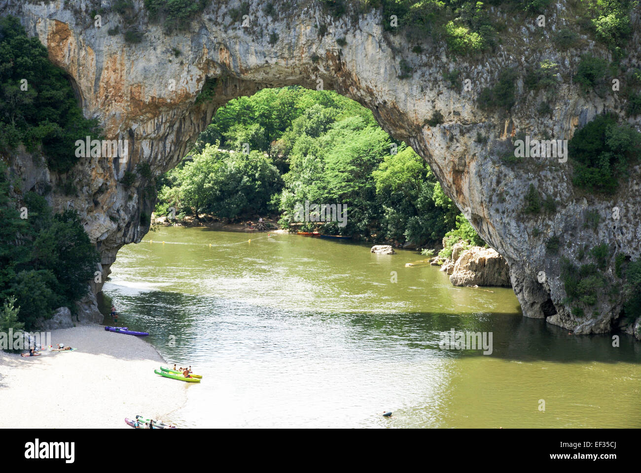 Pont d'arc natural bridge over the Ardeche River gorge, Provence, France - Stock Image