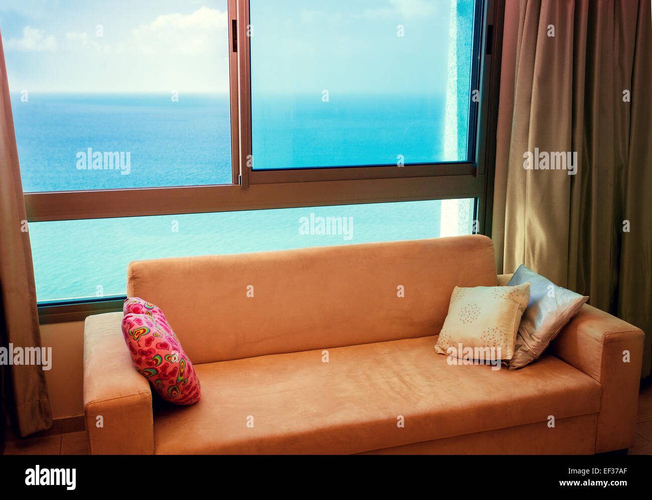 Sofa Near Window With Great Marine View Stock Photo 78132951 Alamy