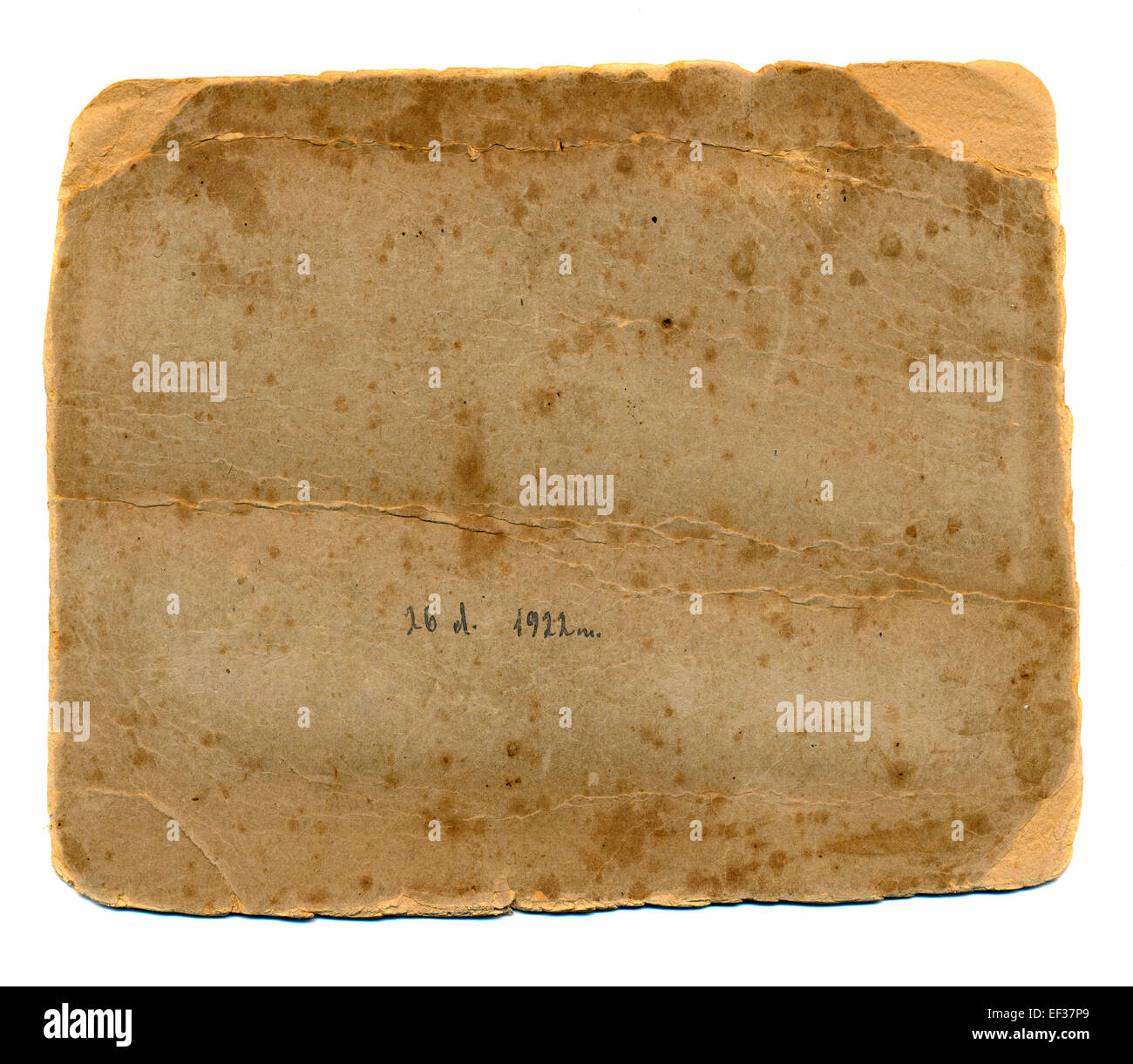old photos grunge paper card back isolated on white - Stock Image