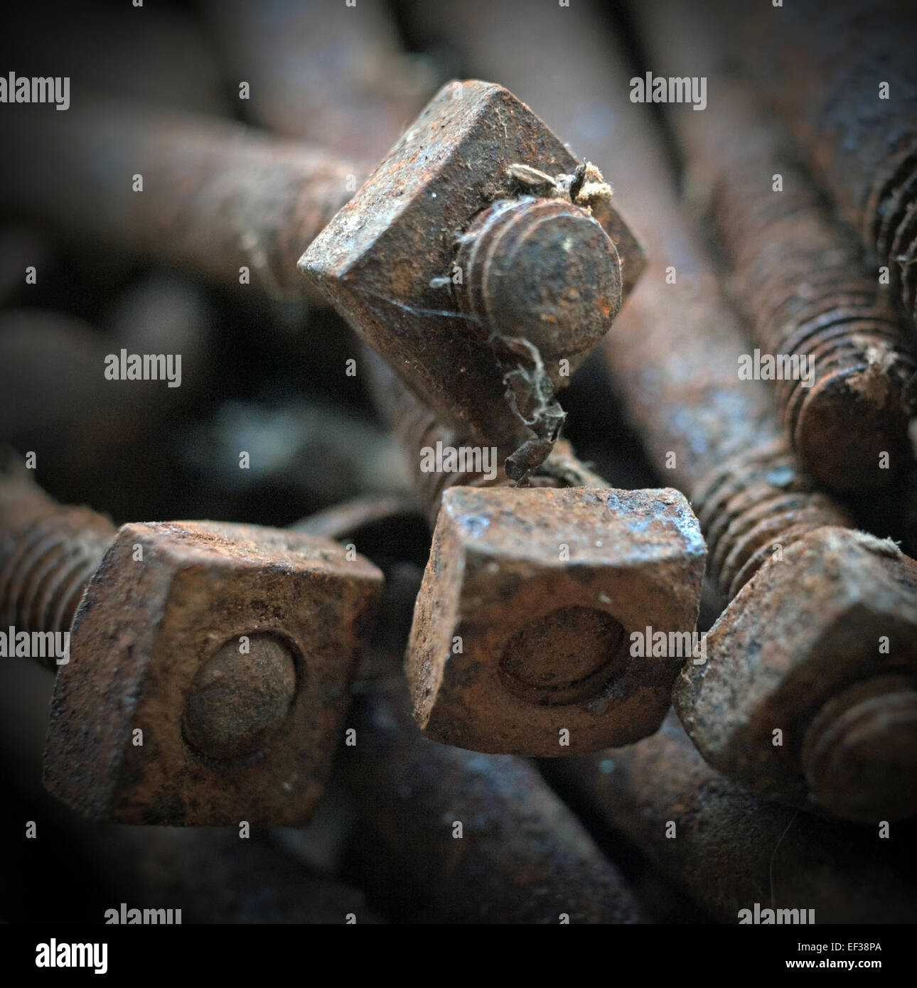 rusting nuts and bolts Stock Photo
