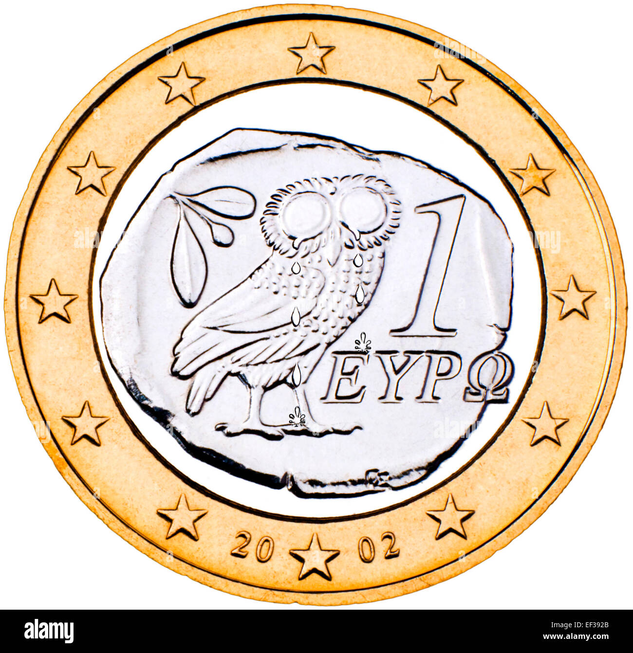 Greek 1 Euro Coin (reverse) with the owl crying - Stock Image