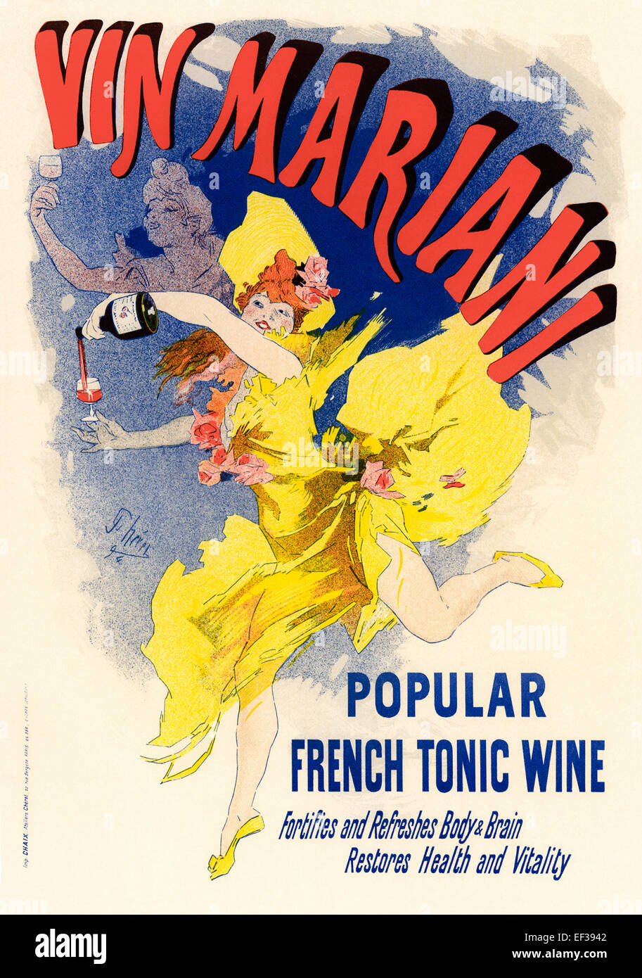 Jules Chéret's (1836-1932) 'Vin Mariani' poster in the Belle Époque style produced in 1884. - Stock Image