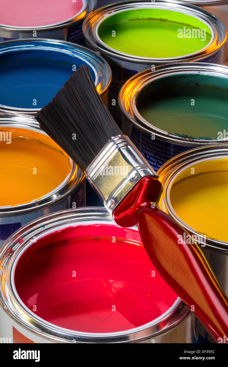 Interior Design - Colorful water-based paints used in painting and decorating. - Stock Image